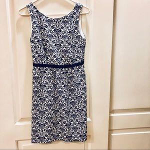 LOFT black and white tapestry sheath dress
